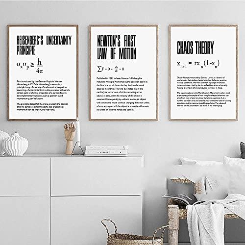 ZHJJD Dilatación del Tiempo Cuadros de la Pared Física Ciencia Poster nórdico Cita Arte de la Pared Pintura de la Lona para la Salon de Estar Oficina Decoracion del Aula 40x50cmx3 Sin Marco