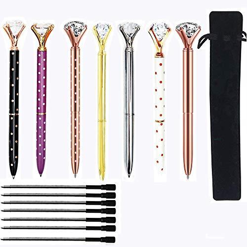 7pcs Diamond Ballpoint Pens with BONUS 7pcs Ballpoint Pen Refills and Black Velvet Bags, Big Crystal Diamond Pen, Beatiful Bling Metal Ballpoint Pen for Women,Co-workers,Kids,Girls.