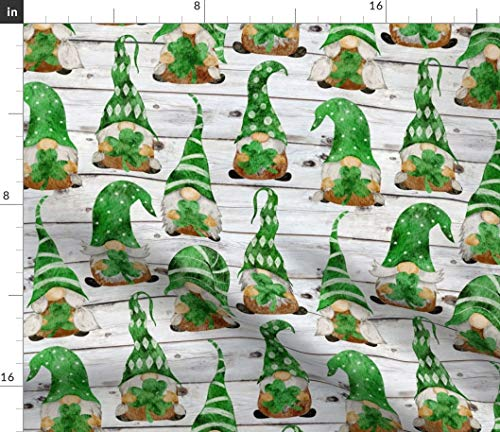 Spoonflower Fabric - Irish Gnomes Medium Scale Green Gnome Watercolor Shamrock Ireland Printed on Fleece Fabric by The Yard - Sewing Blankets Loungewear and No-Sew Projects