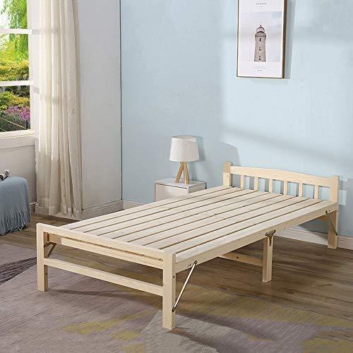 Yaunli opklapbaar tweepersoonsbed massief houten klapbed als lunchpauze stoel voor balkon terras tuin strand buiten slaapbank (kleur: beige, maat: 196X80X35CM)