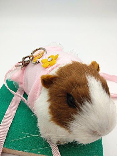Arnés y correa para hámster de ardilla de algodón suave, arnés y correa para mascotas pequeñas, con encaje de flores, vestido de princesa, correas adorables (vestido de caja)