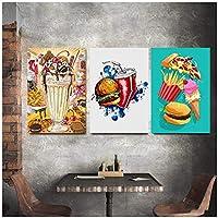 DLFALG 北欧スタイルのポスター家の装飾壁アート食品ハンブルクコークスピザキャンバス絵画キッチン装飾モダンモジュラー写真-40x60cmx3フレームなし