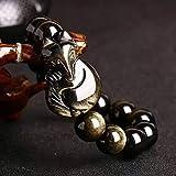 Feng Shui riqueza prosperidad pulsera de oro Obsidiana Fox Dios estiramiento del brazalete curativo natural de la piedra preciosa pulsera Chakra atraer el dinero Suerte Amor matrimonio armonioso,10mm