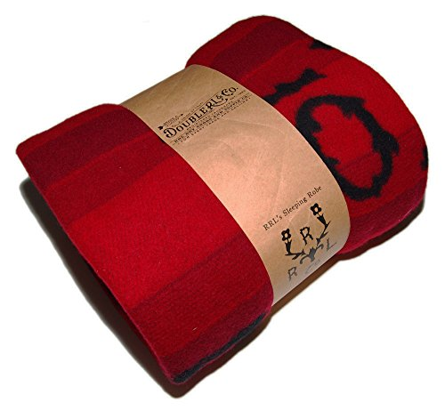 Ralph Lauren Polo RRL Lambswool Red Black Western Longhorn Throw Wool Blanket