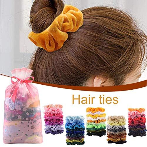 Elastische haarband voor vrouwen, haarband, 50 verschillende kleuren, elastisch rubber, zacht, met 1 opbergtas
