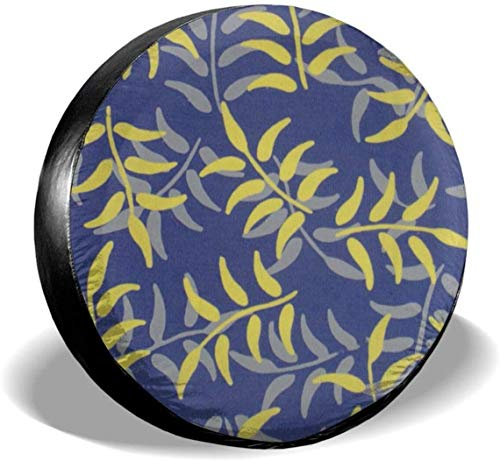MODORSAN Cubierta de neumático de Rueda de Repuesto de Planta Verde Abstracta Cubiertas de Rueda universales de poliéster para Accesorios de camión Jeep, Remolque, RV, SUV, 16 Pulgadas