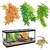 RANYPET 3 unidades de reptiles plantas – Terrario de seda artificial realista con ventosa para semillas de barba, lagarto, serpiente, cangrejo, tanque, decoración del espacio vital