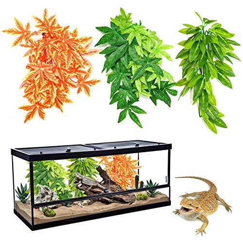 RANYPET 3 Stück Reptilien Pflanzen - Hängende Seide Terrarium Künstliche Naturgetreue Pflanze mit Saugnapf für Bartagamen Eidechsen Geckos Schlange Einsiedlerkrebs Tank Lebensraum Dekorationen