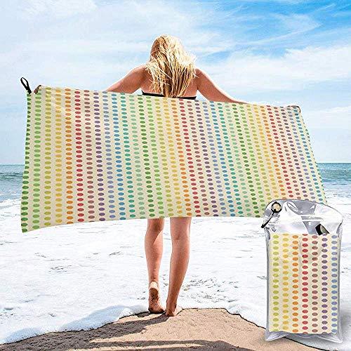 Toalla de Viaje de Playa de Secado rápido, composición de círculos o Puntos como Espectro de Color del Arco Iris en patrón de Orden Vertical Toalla de baño 160X80 cm