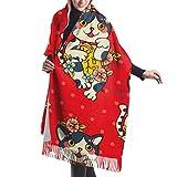Tengyuntong Couverture Châle Femme Châle Wrap Echarpes, 27 'x77' grandes écharpes pour femmes chat amulette tatouage femmes écharpes écharpe ensemble pour filles élégant grande couverture chaude