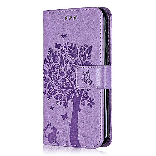 Bear Village Cover iPhone 7 Plus/iPhone 8 Plus, Portafoglio Custodia in PU Pelle, Anti Graffio Cover con Slot Carte e Funzione Supporto per iPhone 7 Plus/iPhone 8 Plus, Viola Chiaro