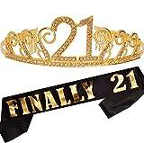 21st Birthday Gifts for Girl, 21st Birthday Tiara and Sash, Happy 21st Birthday Party Supplies, Finally 21 Glitter Satin Sash and Crystal Tiara Birthday Crown, 21st Birthday Party Decoration