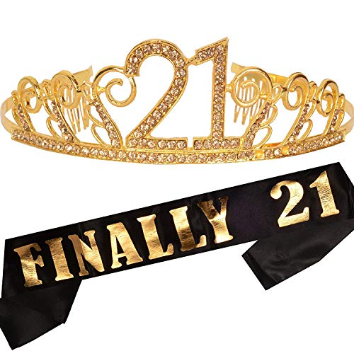 21st Birthday Gifts for Women, 21st Birthday Tiara and Sash, Happy 21st Birthday Party Supplies, Finally 21 Glitter Satin Sash and Crystal Tiara Birthday Crown, 21st Birthday Party Decoration