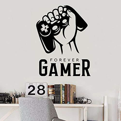 Für immer Spieler Aufkleber Wörter Zitate Hand halten Joystick Videospiele Logo Vinyl Wandaufkleber Kinderzimmer Hauptdekoration Spielzimmer Kunst Wandbild Poster