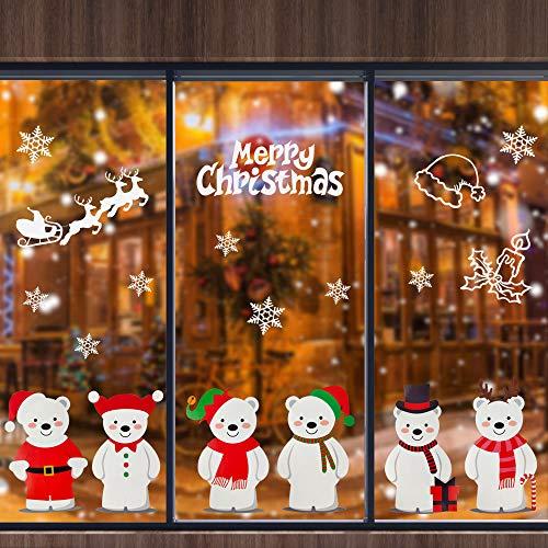 DECARETA Vinilos Navideños para Escaparates, Escaparates de Decoraciones Navideñas, Adornos Navideños para Escaparates, Adornos Navideños para Tiendas, Pegatinas de Navidad