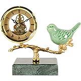 Reloj Retro Sentado, Base de mármol Movimiento Transparente mecánico Cerámica de cerámica Blue Bird Design Relojes de Chimenea para Sala de Estar, Cocina, Oficina y decoración del hogar (Color: Verde