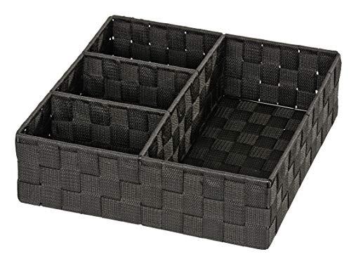 WENKO Organizer Adria Schwarz 4 Fächer - Aufbewahrungsbox, 4 Fächer, Polypropylen, 32 x 10 x 32 cm, Schwarz