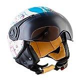 Moto Helmets H44 Bobber Vintage Chopper Demi-Jet Helmet Scooter Chopper Pilot Retro...