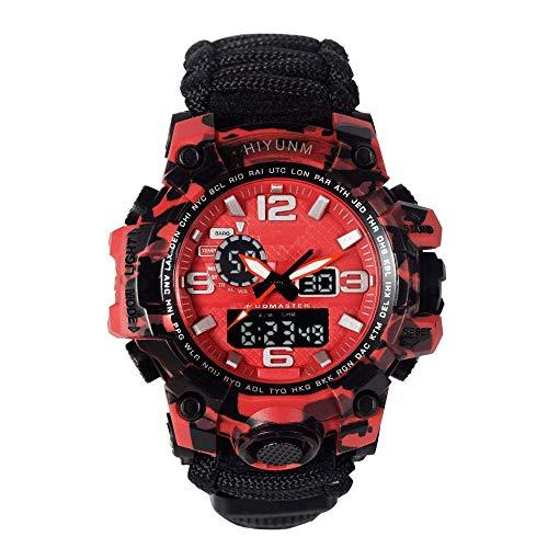 Reloj para exteriores con brújula, relojes electrónicos deportivos multifunción, relojes de pulsera para hombres, reloj de pulsera de cuarzo electrónico LED digital analógico de doble pantalla