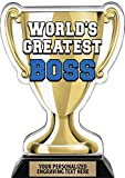 """Crown Awards Worlds Greatest Boss Trophy, 7.25"""" Best Boss Ever Trophy, Engraving Included"""