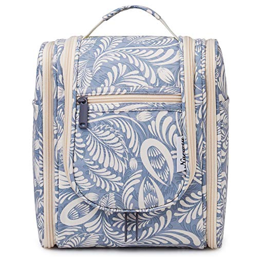 Hanging Travel Toiletry Bag Cosmetic Make up Organizer for Women and Men (Blue Leaf)