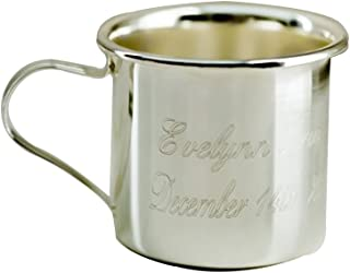 GiftsForYouNow Engraved Silver Baby Sippy Cup, Includes Plastic Lid