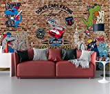 Papel pintado mural de pared Deportes pasión tendencia grafiti DIY Living Dormitorio Oficina Decoración 3D Efecto Papel pintado personalizado Adhesivos de pared - 430 cm x 300 cm (largo x alto).