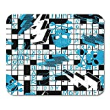 Gaming Mouse Pad Scribble Crossword Puzzle Skulls and Lightning Bolts Boy 25 * 30cm Decor Office Nonslip Rubber Backing Mousepad Mouse Mat
