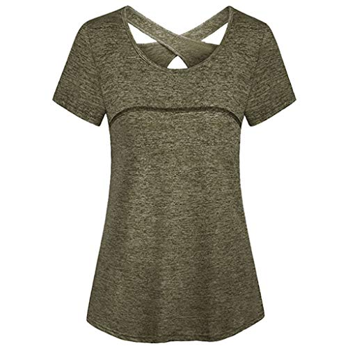 BURFLY - Camiseta de Manga Corta para Mujer, Cuello Redondo, para Yoga, Yoga, Gimnasio, etc. Verde Verde S