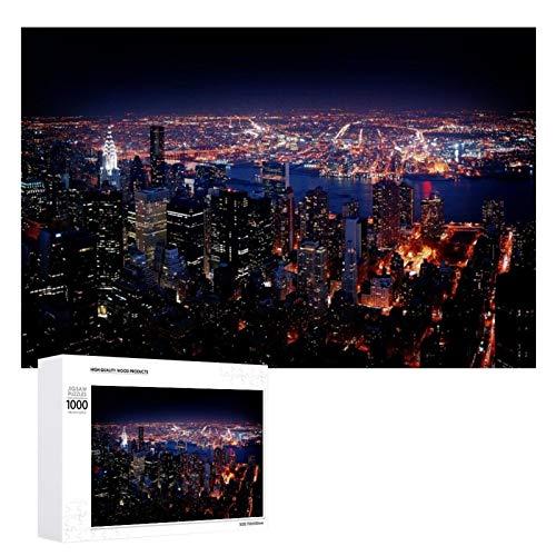 Promini Rompecabezas de madera de Nueva York con vista nocturna de color blanco 16 1000 PCS desafiante juego de rompecabezas divertido juguetes familiares juegos educativos