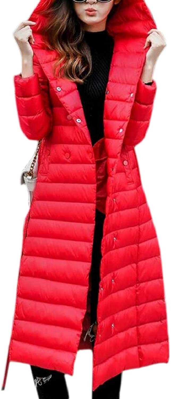 QDCACA Women Casual Hooded Pockets Lightweight Slim Fit Long Down Coats