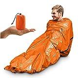 Saco de Emergencia Dormir,Supervivencia Impermeable Manta - Aislamiento Térmico, Exterior Brillante Naranja Fácil de Localizar Portátil,para Acampar Supervivencia Al Aire Libre (Naranja-1 paquete)