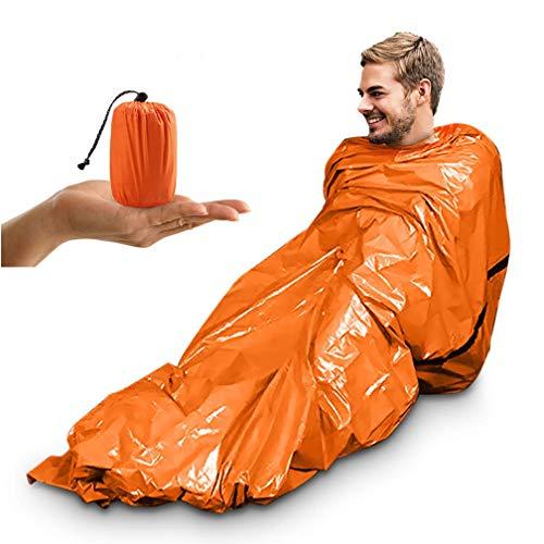Notfallzelt, Tragbar Notfall Schlafsack Notfallzelt Wasserdicht Survival Schlafsack Hitzeabweisend Erste Hilfe Rettungsdecken Ultraleicht Biwak Sack für Outdoor Camping und Wandern (Orange- 1 Packung)
