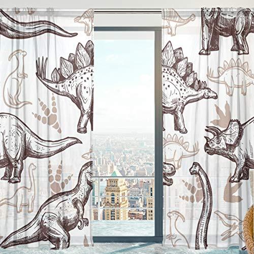 Mnsruu Fenstervorhänge, Jurassic Dinosaurier Weicher Tüll-Voile Vorhänge für Wohnzimmer Schlafzimmer 140 x 213 cm, 2 Paneele