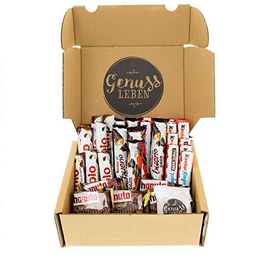 Genussleben Box Schokoladen-Mix mit hanuta Brownie, bueno Dark, duplo Dark Vanilla, kinder Riegel Dark und Milch und Jelly Beans von Genussleben