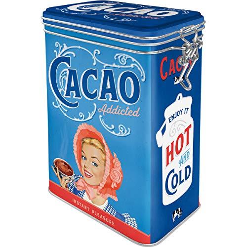Nostalgic-Art Retro Kaffeedose Cacao Addicted – Geschenk-Idee für Kakao-Fans, Blech-Dose mit Aromadeckel, Vintage Design, 1,3 l