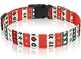 Taglory Collar Perro Navidad, Collar de Perro Mascota Ajustable para Perros Pequeño, Árbol de Navidad & Copos de Nieve