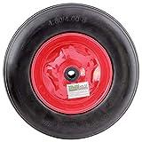 Schubkarrenrad 4.80/4.00-8 Vollgummi PU 400mm Pannensicher mit Achse Stahlfelge Reifen Ersatzrad massieves PU Schaum Rad mit hoher Dichte schwarz Rot