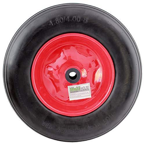 Schubkarrenrad 4.80/4.00-8 Vollgummi PU 400mm Pannensicher mit Achse Stahlfelge Reifen Ersatzrad massives PU Schaum Rad mit hoher Dichte schwarz Rot