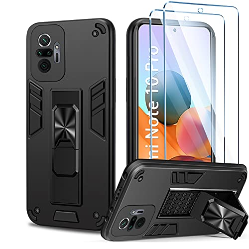 AROYI Funda Compatible con Xiaomi Redmi Note 10 Pro/Note 10 Pro MAX Carcasa con 2 Pack Protector de Pantalla, Soporte Incoporado, Recortes precisos para la cámara, Armor Grado Antigolpe Case, Negro