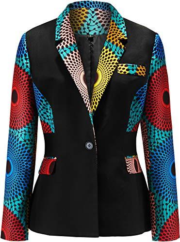 Shenbolen Women African Print Coat Notched Lapel Pocket Blazer Jacket(C,XX-Large