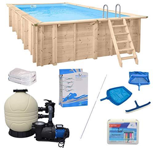 WelaSol Holz Pool Bali Rechteck 7,90 x 4,00 x 1,38 m Technikset | Aufstellpool oder Einbaupool | mit Technik, Filteranlage und Zubehör