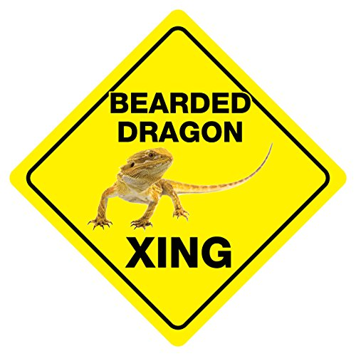 Bearded Dragon Crossing Funny Sign Novelty