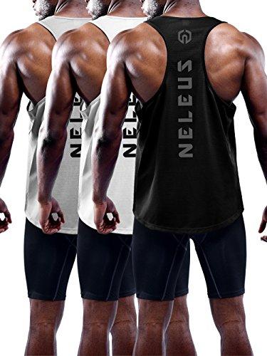 Neleus Men's 3 Pack Dry Fit Athletic Muscle Tank Workout Gym Shirt,5031,Black,Grey,White,M,EU L