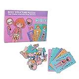 Rompecabezas de madera para niños pequeños, niños estructura de órganos del cuerpo humano rompecabezas de cognición juguetes educativos sistema interactivo de juguetes de anatomía humana(MG-Chica)