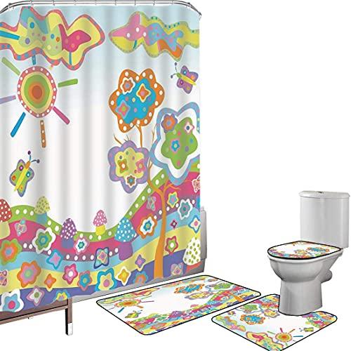 Juego de cortinas baño Accesorios baño alfombras Garabatear Alfombrilla baño Alfombra contorno Cubierta del inodoro Dibujo infantil de una colina con sol colorido,un árbol y nubes Arte abstrac