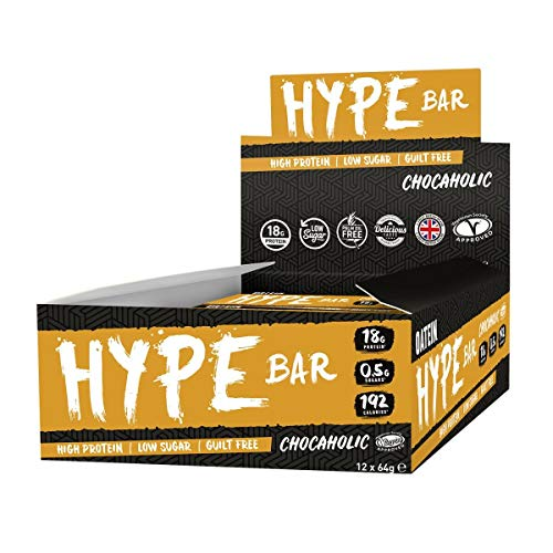 Oatein Hype High Protein Bar (12 x 60g), Low Sugar, Low Carb and Less Than 190 Calories - Chocaholic Flavour