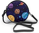 BAODANLA Bolso redondo mujer Cartoon Planet Galaxy Background Women Soft Leather Round Shoulder Bag Zipper Circle Purses Sling Bag