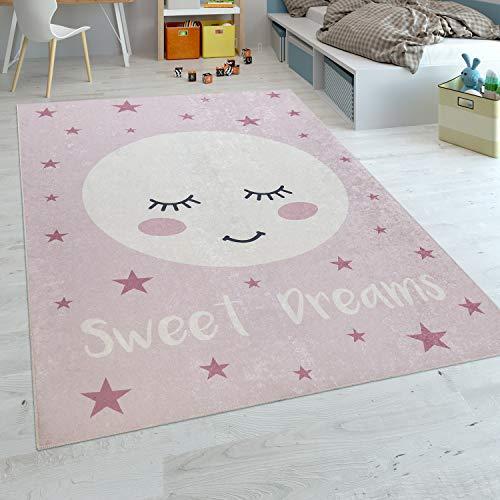 Paco Home Alfombra Habitación Infantil Niña Lavable Estrellas Luna Adorable Frase Rosa, tamaño:80x150 cm