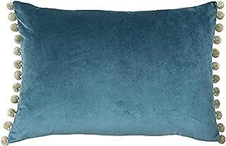 Paoletti Riva Fiesta Rectangular Cojín Lleno De Azul Beige Pompom Bordes-Faux Velvet Tela-Discreta Cierre-100 Caso (14
